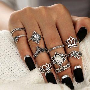 Jewelry - Tibetan Flower Rings Set